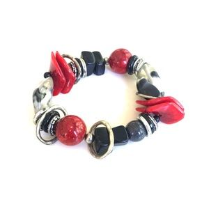 Jewelry - 3/$20 Black red silver grey elastic bracelet